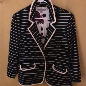 Black And Cream Striped Blazer